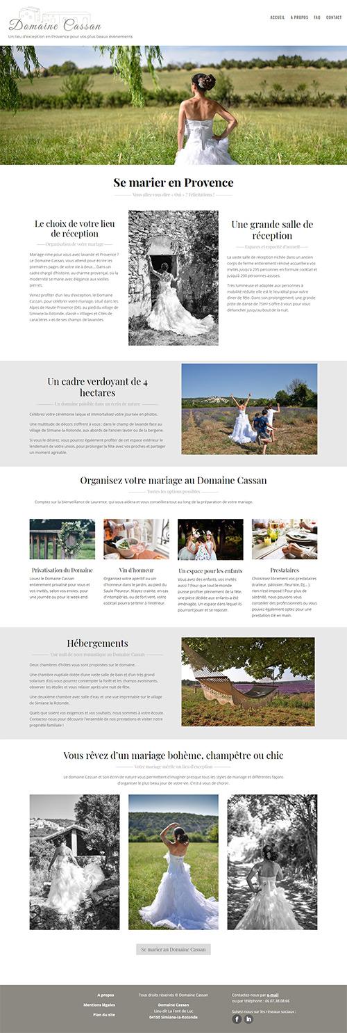 portfolio web : site internet du Domaine Cassan